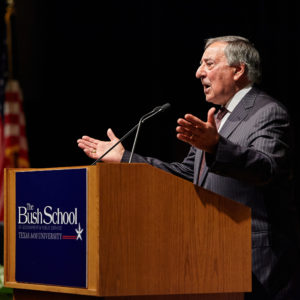 Former Defense Secretary, CIA Director Leon Panetta Inspires Bush School Faculty, Students as Inaugural Cameron Fellow