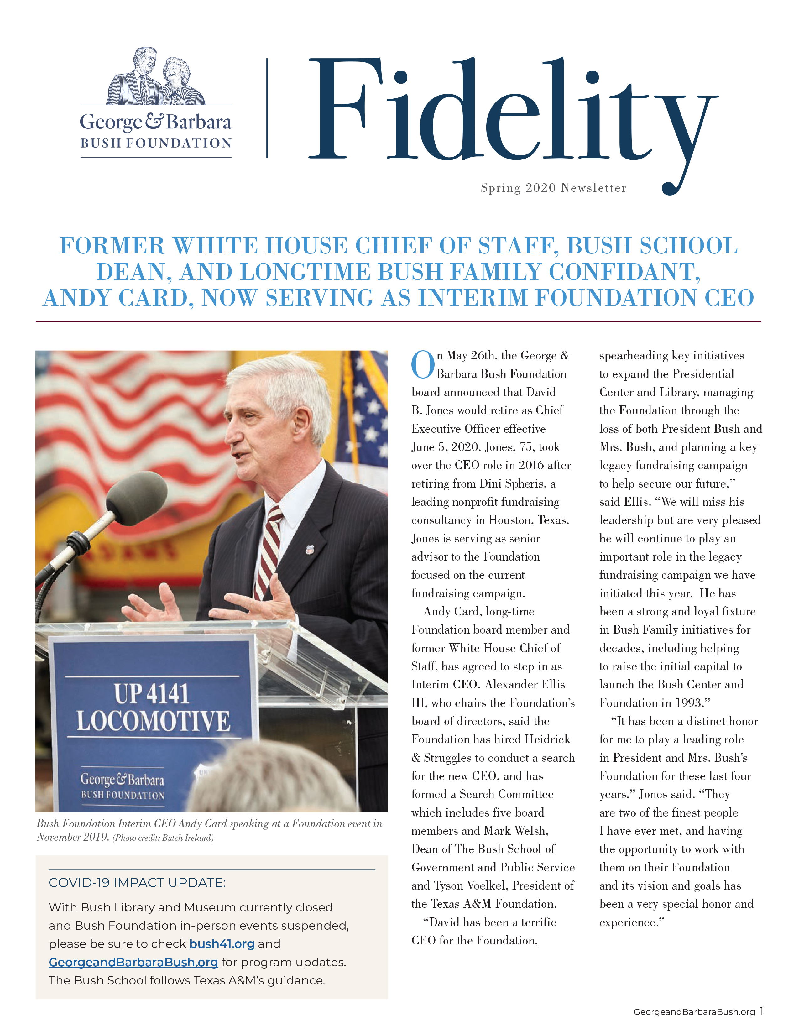 Spring 2020 Newsletter front page
