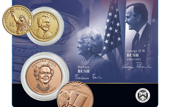 George H.W. Bush Presidential $1 Coin and Barbara Bush First Spouse Medal
