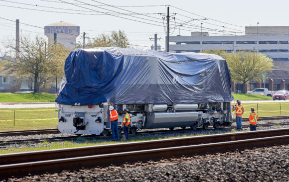 4141 locomotive rides the rails one last time, arrives in College Station